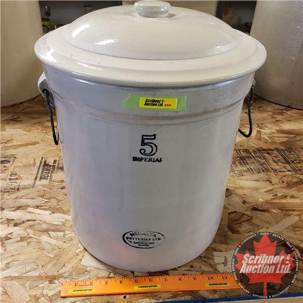 """5 Gallon Crock with Lid - Medalta (16-1/2""""H x 13"""" Dia)"""