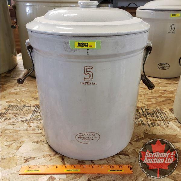 """5 Gallon Crock with Lid - Medalta (16-1/2""""H x 13-1/2"""" Dia)"""