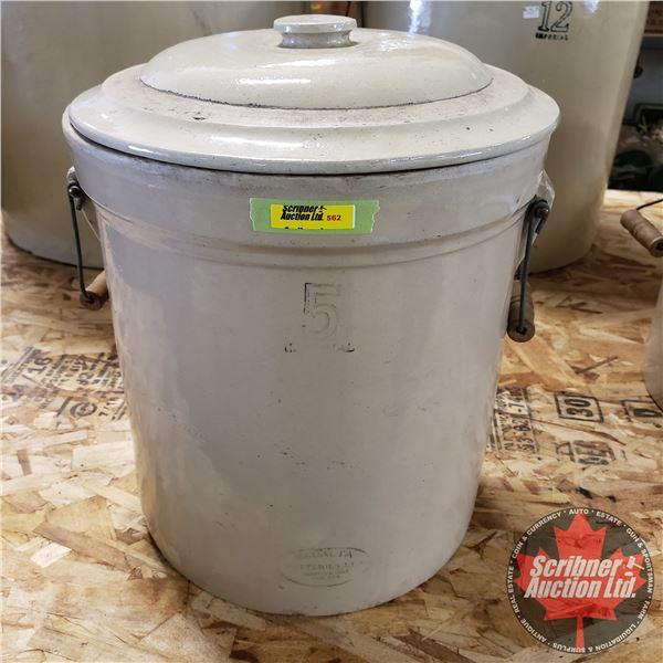 """5 Gallon Crock with Lid - Medalta (16""""H x 13"""" Dia)"""