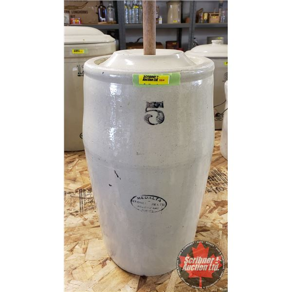 """5 Gallon Butter Churn Crock with Lid & Paddle (41""""H w/Pole)"""