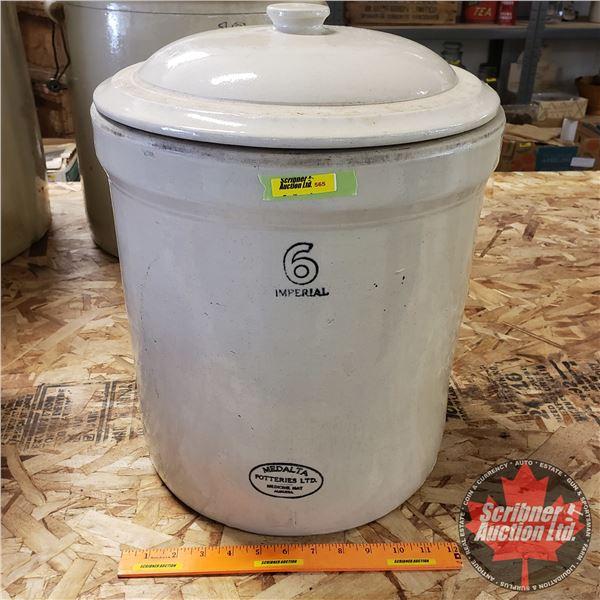 """6 Gallon Crock with Lid - Medalta (17""""H x 13-3/4"""" Dia)"""