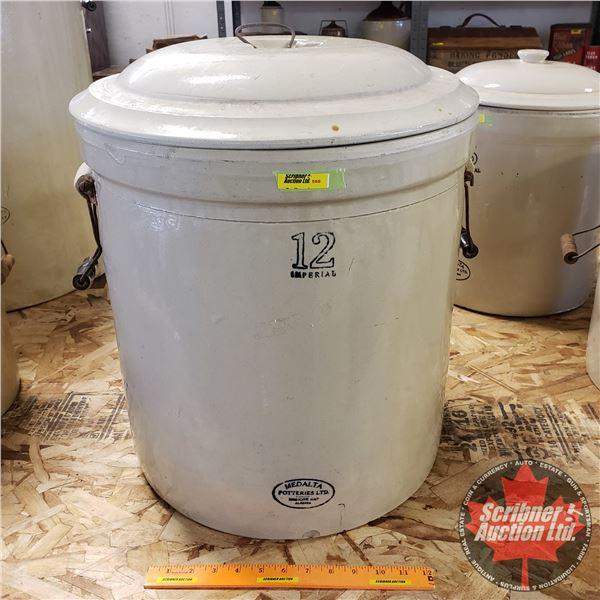 """12 Gallon Crock with Lid - Medalta (20""""H x 17-1/2"""" Dia)"""