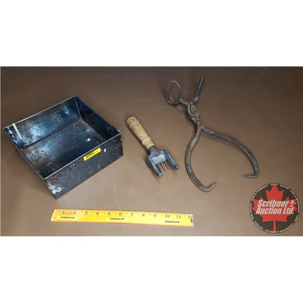 Ice Chipper, Small Ice Tongs & Cake Pan