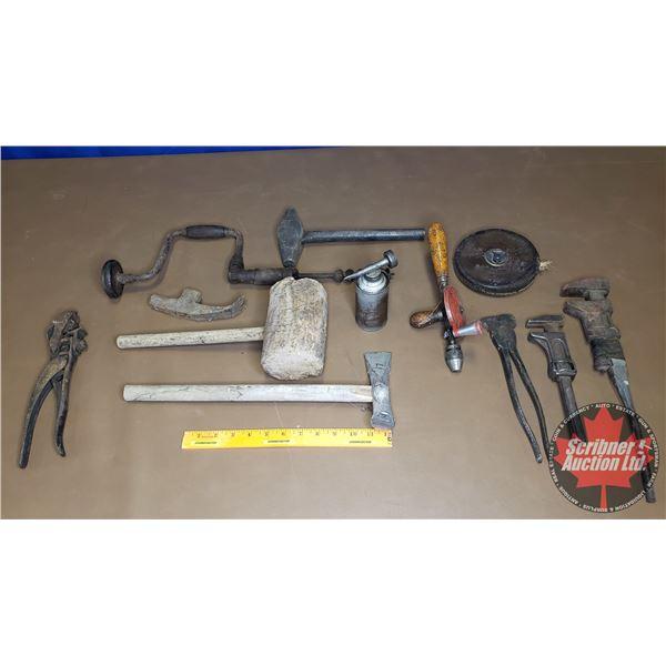 Tray Lot: Antique Tools (Wooden Mallet, Brace & Bit, Fencing Pliers, etc)