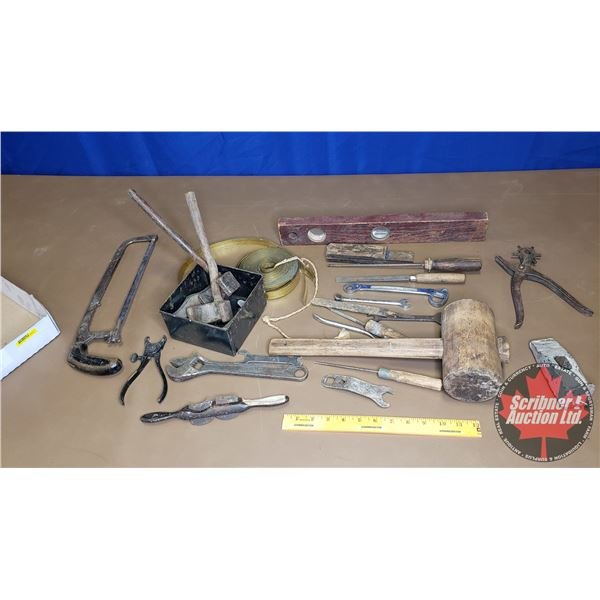 Tray Lot: Antique Tools (Wooden Mallet, Spoke Shaver, Wagon Hug Wrenches, etc)