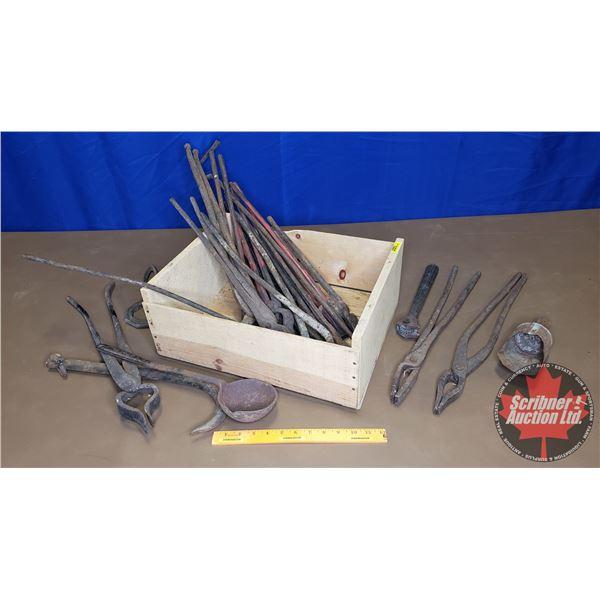 Wooden Box Lot: Black Smith Tools