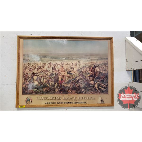 "Large Oak Framed Copy: ""Custer's Last Fight"" by Budweiser & Anheuser Busch (22""H x 30""W)"