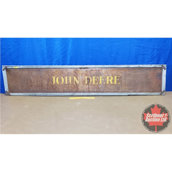 "JOHN DEERE Tin Sign - Barn Wood Frame (15""H x 79""W)"