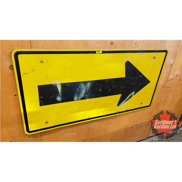 """Single Sided Metal Reflective Road Sign : Arrow (24""""H x 48""""W)"""