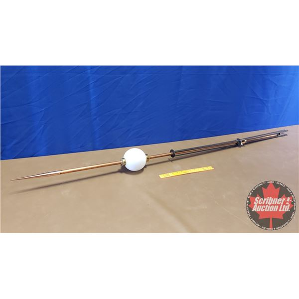 "Lightning Rod w/White Glass Ball (69""H)"