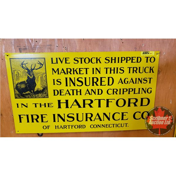 """Single Sided Tin Sign (Repro) : Hartford Fire Insurance (11""""H x 19-1/2""""W)"""