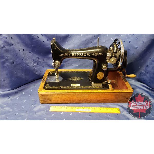 """Singer Hand Crank Sewing Machine S/N#Y9887649 (15""""H x 17""""W x 8""""D)"""