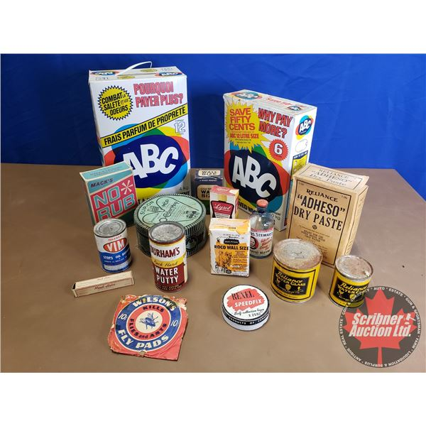 Box Lot: Vintage Cleaning Supplies (Mostly Full)