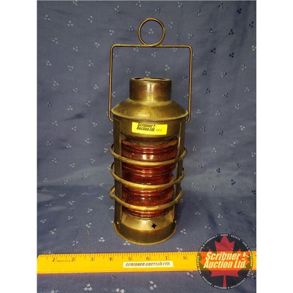 """Brass Mini Coal Oil Lamp w/Red Globe (9-1/2""""H)"""