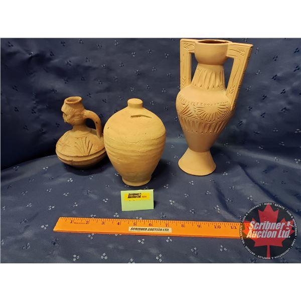 Terracotta (3) : Jug , Vase, Coin Bank