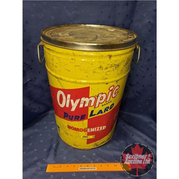 "Olympic Pure Lard pail w/Lid (17-1/2""H)"