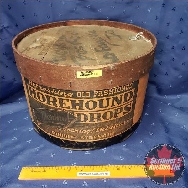 "Wooden Drum - Horehound Drops (9""H x 13"" Dia)"