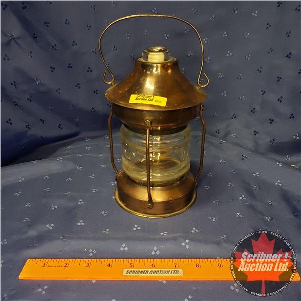 """Copper & Glass Globe Coal Oil Lamp (9""""H)"""