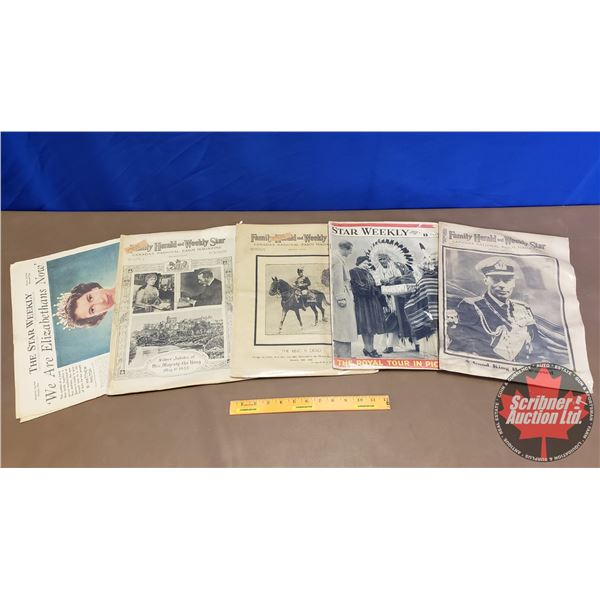 Tray Lot: Star Weekly & Family Herald Newspapers (Royalty/Monarchy Theme)