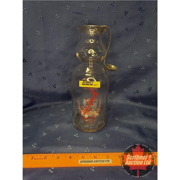 """Landgren's Milk Bottle with Cream Top & Spoon (10""""H)"""