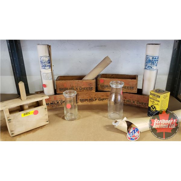 Large Dairy Collection : Milk Bottles, Cheese Boxes, Butter Press, Pogs, Butter Block Wrap, etc