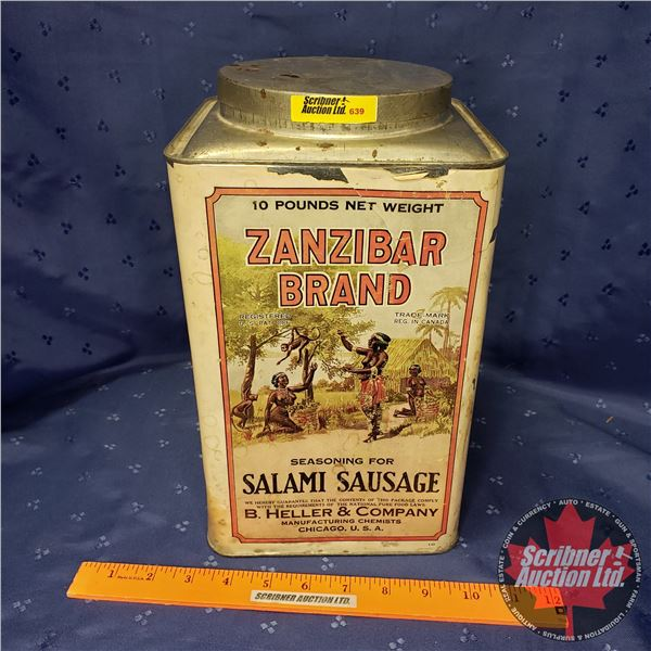 "Zanzibar Brand Seasoning for Salami Sausage Tin (11-1/2""H x 7""W x 7""D)"