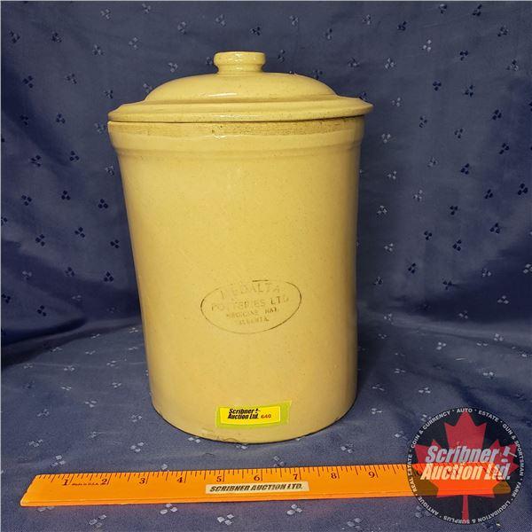 "1 Gallon Crock with Lid - Medalta Potteries Ltd. Medicine Hat (11"" x 7-1/2"" Dia) (Note: Unique - Lea"