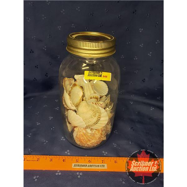 """Improved Gem Mason Jar w/Sea Shells (8-1/2""""H)"""