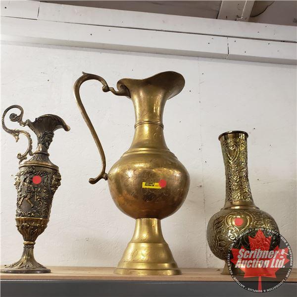 Brass Trio: Vase, Large Pitcher & Goblet/Pitcher