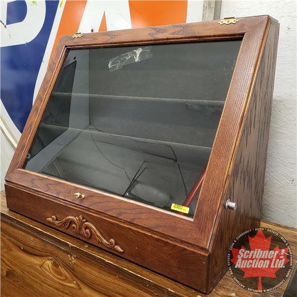 """Lockable Counter Display Case - Wooden - Glass Door (23-1/4""""H x 30""""W x 15""""D)"""