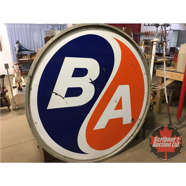 """B/A Service Station Sign - Double Sided Porcelain (68"""" Dia)"""