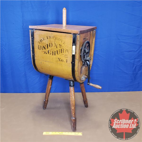 """The Improved Union Churn No. 1 - Wooden - 3 Legs (37""""H x 19""""W x 13-1/2""""D) (h = with Pole) (w = with"""