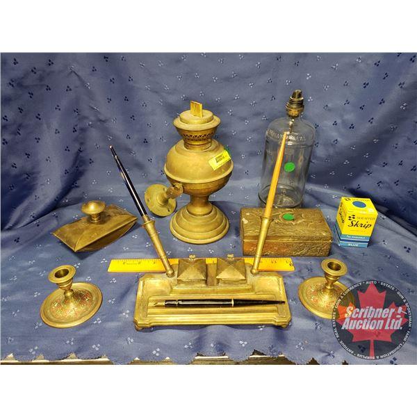 Vintage Brass Office Group (Hanging Lamp, Pen Station, Skeleton Keys, etc)