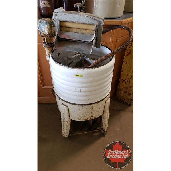 """Easy Gas Powered Washing Machine Wringer (Missing One Wheel) (48""""H) (Engine Turns Over)"""
