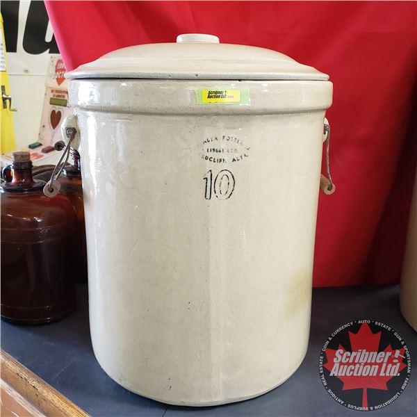 """10 Gallon Crock with Lid - Medalta (20-1/2""""H x 16"""" Dia)"""