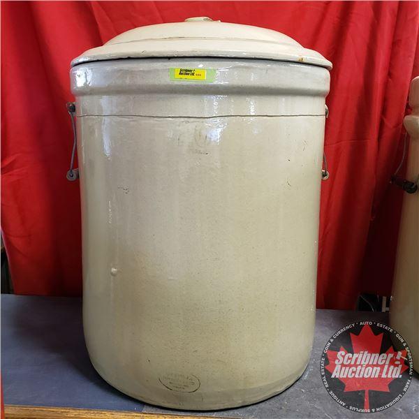 """20 Gallon Crock with Lid - Medalta (26""""H x 19"""" Dia)"""