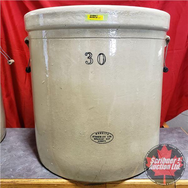"""30 Gallon Crock - Medalta (23""""H x 22"""" Dia)"""