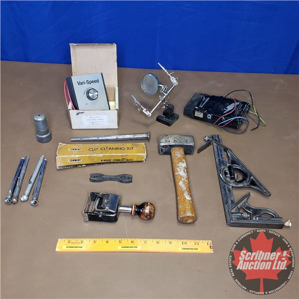 Tray Lot: Variety of Tools (Hammer, Tire Gauges, Spoke Wrenches, Mitre Square, etc)