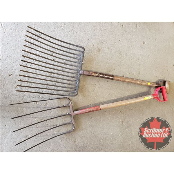 Pitch Forks (2): One Cast Iron (14 Tine) & 5 Tine