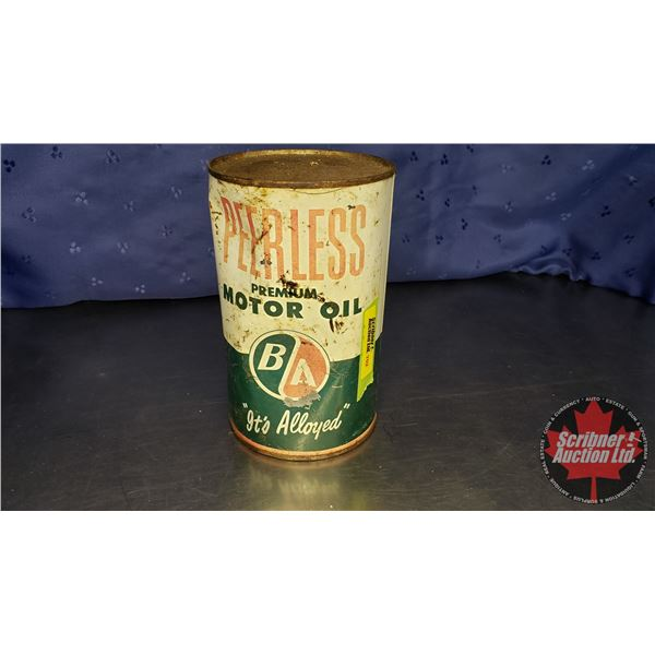 "B/A Peerless Motor Oil Quart (Full) (6-1/2""H x 4"" Dia)"