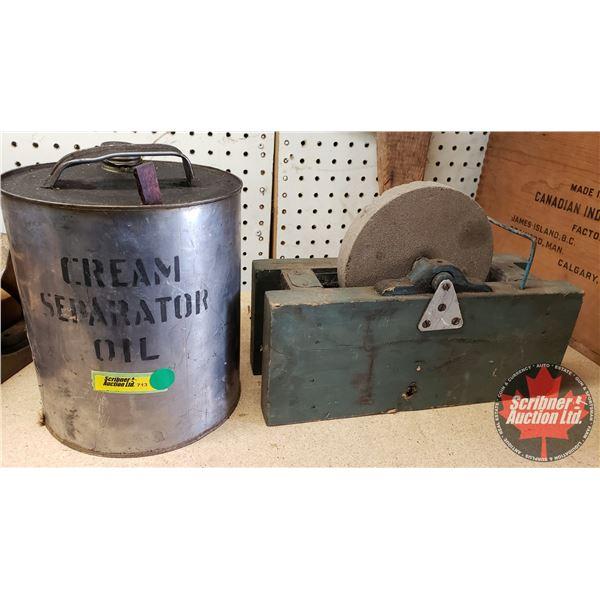 Cream Separator Oil Tin (1/2 Full) & West Stone Grinder