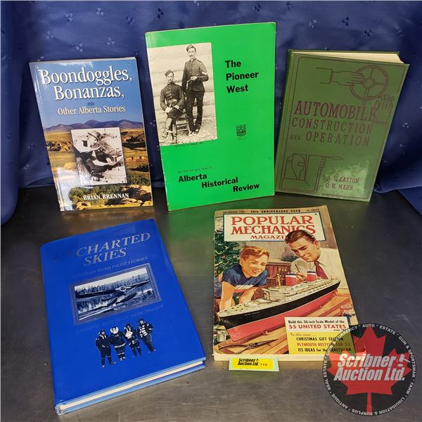 Books (5): Popular Mechanics, Automobile Construction, Boondoggles, Bonanza's, etc