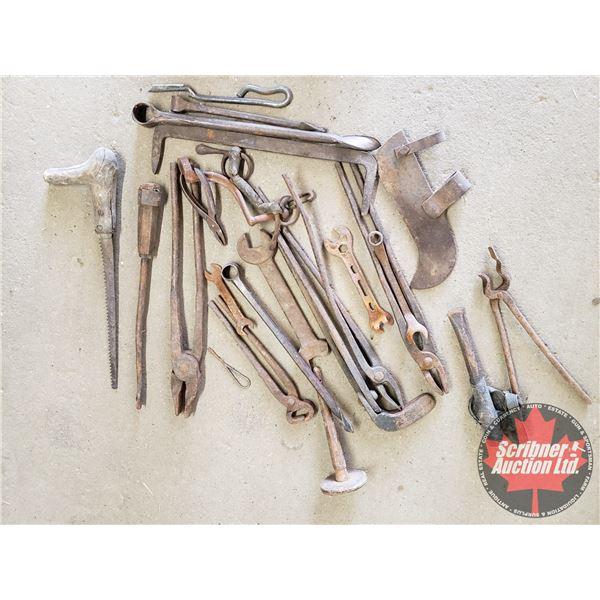 Box Lot: Black Smith Tools (Tongs +)