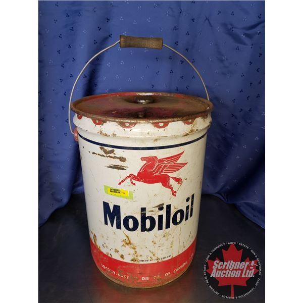 """Mobil Oil 5 Gal Pail (15-1/2""""H x 11-1/2"""" Dia)"""