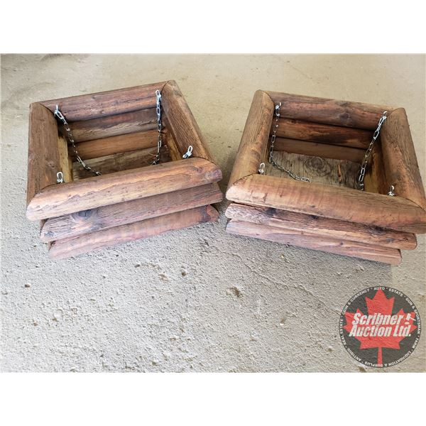 "Custom Wood Stained Planters (2) (7""H x 13-1/2""W x 13-1/2""D)"