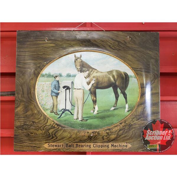 "Single Sided Tin Sign ""Stewart Ball Bearing Clipping Machine"" (20""H x 24""W)"