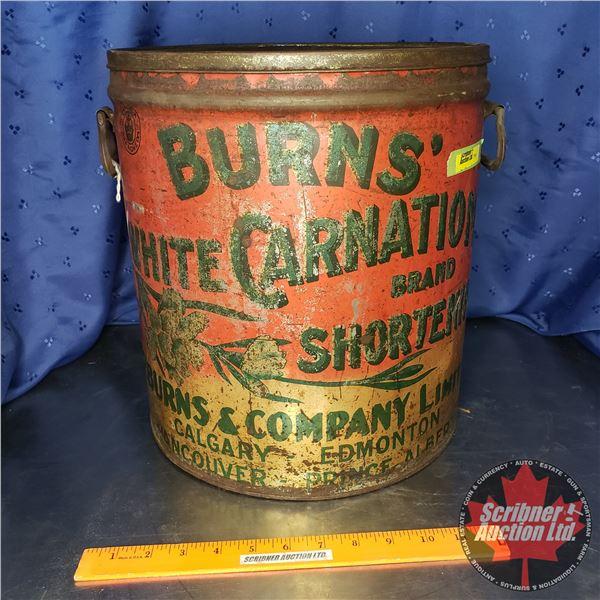 "Burns' White Carnation Shortening Pail w/Lid (13-1/2""H x 12"" Dia)"