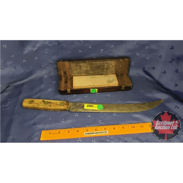 """Large Knife & Sharpening Stone in Wood Box (18""""L)"""