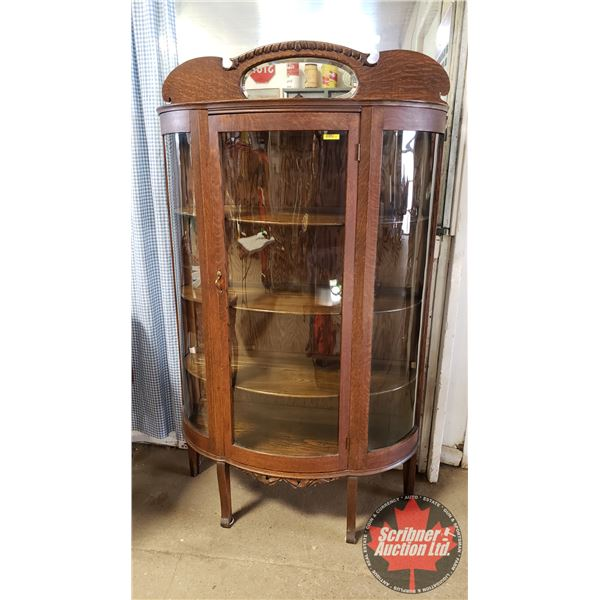 """Triple Curve China Cabinet (67""""H x 38-1/2""""W x 11""""D) (Oval Bevel Mirror)"""