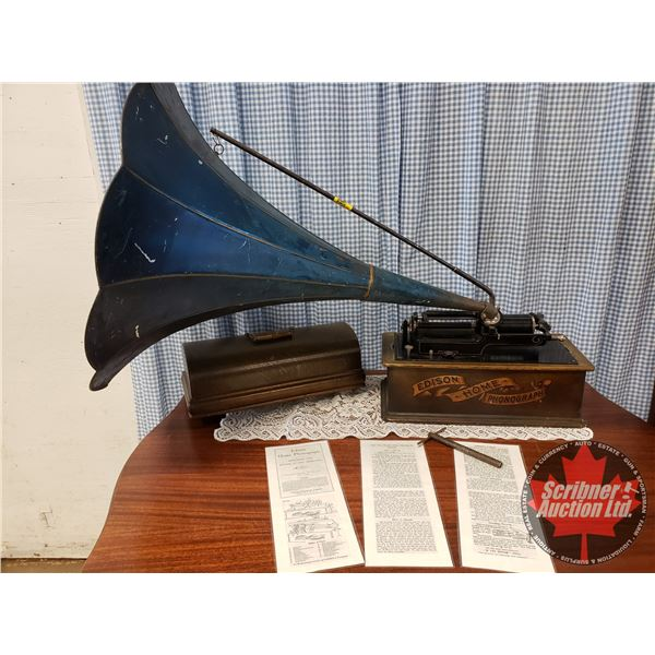 Edison Home Phonograph - Cylinder with Blue Floral Horn (with One Record) (S/N#H97484)